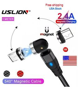 540° Rotate Magnetic Phone Cable Micro USB Charger For iPhon.