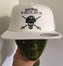 Captain Morgan White Rum Baseball Cap Hat Snapback White Mesh Trucker w/Sticker