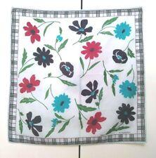 Burberry Bandana Pocket Square Handkerchief Neckerchief Nova Check Floral Blue