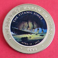 TITANIC 1998 SOMALIA 25 SHILLINGS COLOURED PROOF a - a history of world shipping
