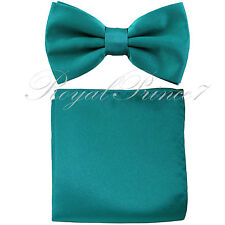 New TEAL Green Blue Men's Bow tie & Pocket Square Hankie wedding  Party Prom