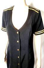 Charades Vintage Dress Black Gold Trim Stretch Short Womens Size Small