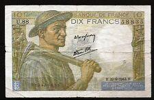 Billet 10 Francs (Mineur). 1944. France