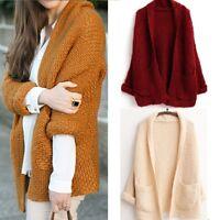 Winter Women Long Sleeve Loose Knitted Sweater Jumper Cardigan Outwear Coat GW