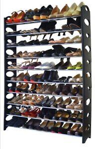 10 Tier Extra Large Stackable Shoe Rack Storage Organiser Stand Shelf