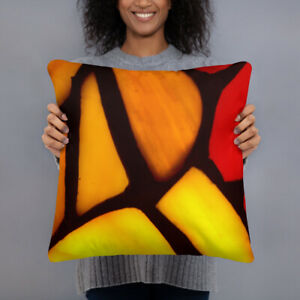 """Orange, Yellow & Red Throw Pillow 18"""" x 18"""" Stained Glass Design"""