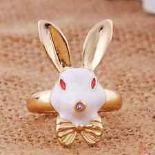Cute Rabbit Ring White Gold Jewellery Bow Kawaii Alice In Wonderland Red Retro
