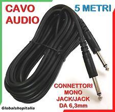 Cavo audio 5 metri connettori jack 6,3 mm mono casse musicali strumenti karaoke