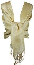 Gold Women's Paisley Glitter Shimmery Tonal Scarf Shawl Wrap Pashmina _PSK