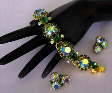 D&E Juliana Book Piece Amethyst AB & Tourmaline Rhinestone Bracelet & Earrings