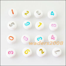 100 New Charms White Acrylic Plastic Mixed Numbers Spacer Beads 7mm