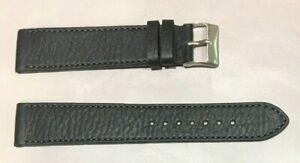 Pulsera Correa de Reloj Piel Legítima 20 mm Negro   Watchband 212 Extra Larga
