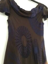 CC ladies Silk dress 12 With Beading.Brown / Blue Purple