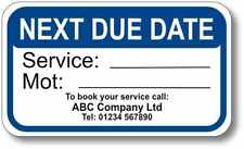 100 x MOT & Service Reminder Sticker Personalised With Your Name and Address