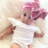 Baby Velvet Big Bow Tie Head Wrap Turban Top Knot Headband For Newborn Girl Kids
