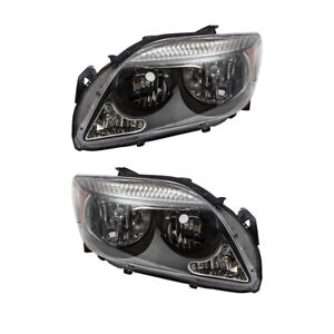 Fits 2005-2007 Scion tC Pair Headlights Halogen Headlamp Set Grey Bezel Assembly