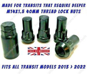 Black Wheel Locking Nuts For Ford transit Custom 2013 > 2022 40mm Long M14x1.5