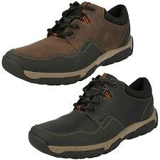 Uomo Clarks Nero/Marrone Impermeabile Leather Scarpe Walbeck Edge Calzabilità G