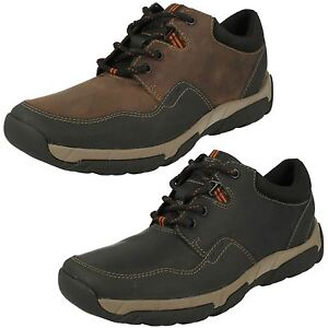 Men's Clarks Black/Brown Waterproof Leather Shoes Walbeck Edge G fitting