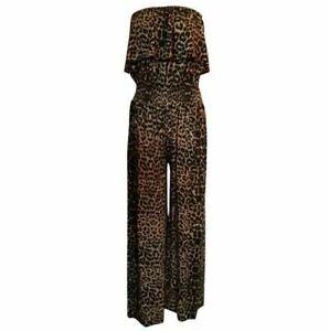 Women's Ladies Leopard Playsuit Jumpsuit Wide Leg Polka Dot Bandeau Elasticated