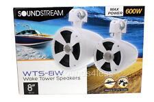 """Soundstream WTS-8W 600 Watt Gloss White 8"""" Marine Boat Wake Tower ATV Speakerss"""