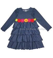 New Girls Boutique Love U Lots sz 4 Denim Flower Ruffle Knit Dress Clothes $75