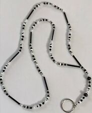 "20.5"" Black White Clear & Silver Hand Beaded Lanyard ID Badge Holder Key Ring"