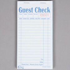 2 Part Green and White Carbonless Restaurant Guest Checks - 50 Books / Case