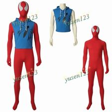 Scarlet SPIDER Ben Reilly Cosplay Uomo Rosso Tuta Body Felpa Blu
