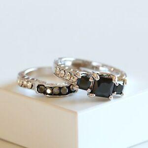 Three Stone Princess Cut Black CZ White Gold Plated Women Fashion Ring Set