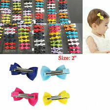 24 pcs Baby Girl Kid Dots Grosgrain Ribbon Boutique Hair Bow Alligator Clip Lots