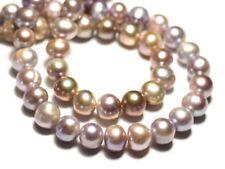 6pc - Perles Culture Eau Douce Boules 8-10mm Rose clair Mauve Pastel irisé - 874