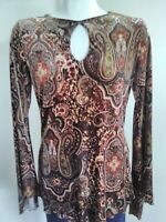 Moa Moa Sz S Velvet  Medgentium Top Blouse Long Bell Sleeve Key Hole Neck Brown