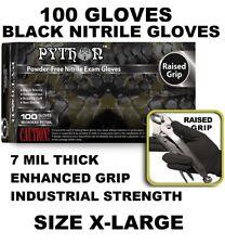 PYTHON Black Nitrile Gloves, 7 mil, Powder Free, 100 Gloves, Size XL X-Large