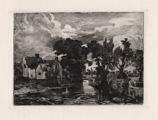 """Amazing 1800s John CONSTABLE Etching """"The Mill Stream, Willy Lott's Cottage"""" COA"""