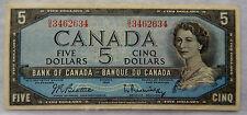 "1961 - 72 Canada 5 Dollars Banknote P.77.b ""Beattie - Rasminsky"" SB3886"