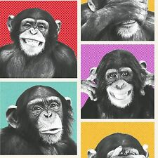 CHEEKY CHIMPS WALLPAPER ROLLS MURIVA 102560 - MONKEYS APES ANIMAL FEATURE WALL