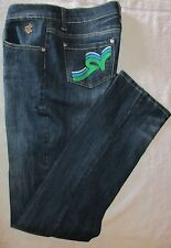 ROCAWEAR JEANS GREEN BLUE WHITE EMBROIDERY THREAD LOGO SIZE 11