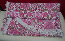 VINTAGE FAB FUNKY RETRO FRINGED DOUBLE BED COVER PINK BROWN FLOWERS POWER