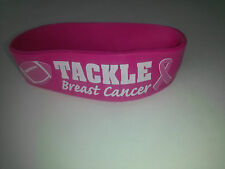 (1) Breast Cancer Awareness Wide Band TACKLE CANCER Rubber Silicone Bracelet NEW