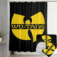 5-TANG CLAN 4PCS Shower Curtain Bath Mat Bathroom Rugs Set Toilet Lid Cover