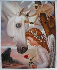 RALPH WOLFE COWAN Giclee on Canvas Childhood Fantasies Unicorn Art