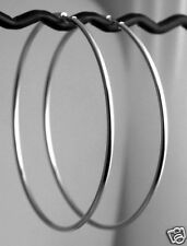 "COUTURE 3.25"" BIG Solid 14k WHITE Gold Endless Hoop Earrings 2mm 3.5g CLASSIC"