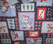 "Christmas Fabric Bears Candy Cotton 30"" x 44"" Material Glittery New Blues"