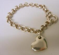 Vintage Italy Puffy Heart Sterling Silver 925 Pendant Chain Bracelet Valentine's
