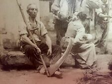 """Signed Large Antique Photo Titled """" Paying The Harvesters"""" Huge Scythe &farmers"""