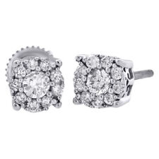 14K White Gold Diamond Solitaire Accent Flower Halo Stud 6.25mm Earrings 3/4 Ct.