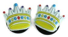 Blue Crown Jibbitz Crocs Shoe Bracelet Wristband Charm Tiara Princess Set of 2