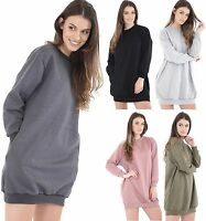New Womens Ladies Long Sleeve Oversized Distressed Sweatshirt Jumper Dress Top