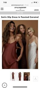 banana republic Satin Slip Dress In Toasted Carmel